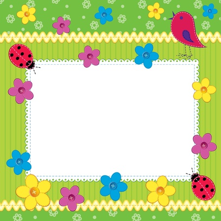 Scrapbook photo frame or card with cute flowers and butterfly Vector