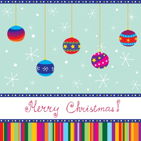 Merry Xmas card with baubles; hand written text Vector