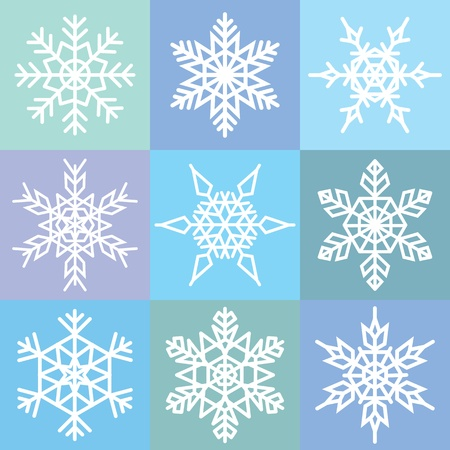 Set of 9 snowflakes in a patchwork pattern Illustration