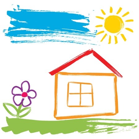 simple flower: Colorful house painted with brush in childlike style