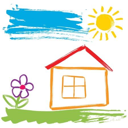 school house: La casa de colores pintados con pincel en estilo infantil Vectores