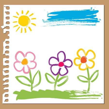 Colorful flowers painted with brush in childlike style