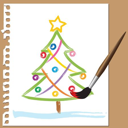 Colorful Xmas tree painted with brush in childlike style Illustration