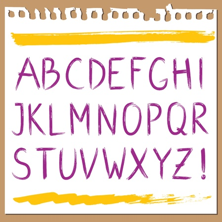 ABC painted in brush strokes