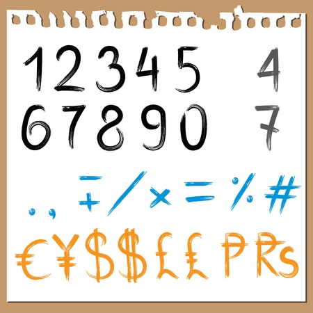 Brush painted ABC  - numbers, signs, currencies Vector