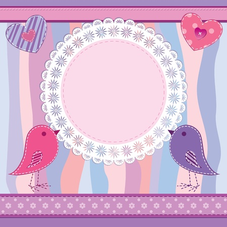 Cute greetings card or photo frame in scrapbook style with hearts and birds Illustration