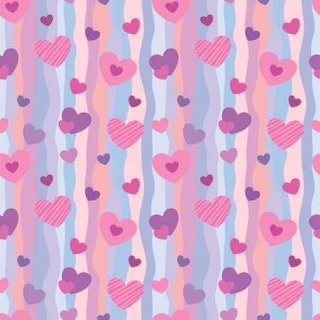 pastel background: Seamless pattern with hearts for Valentine Illustration