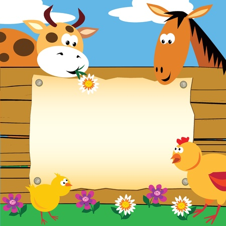 Greeting card with farm animals Illustration