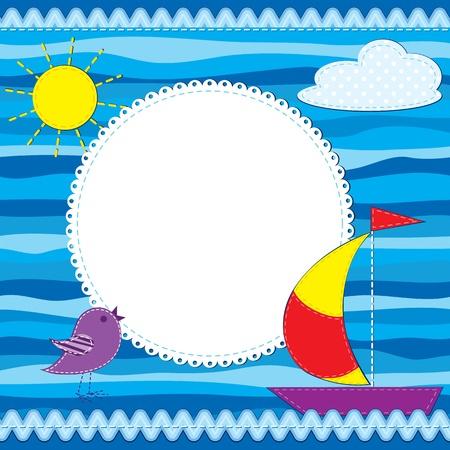 marine bird: Plantilla de la tarjeta de colores o marco de fotos para un cumplea�os u otra ocasi�n Vectores