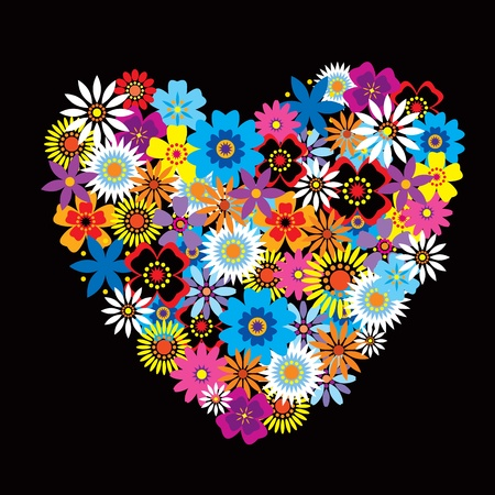 dating and romance: Heart shape made out of colourful flowers Illustration