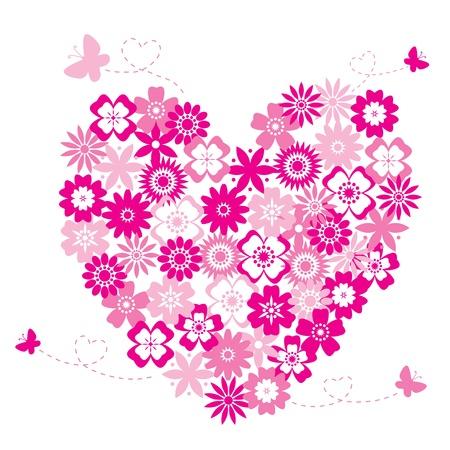 papillon rose: En forme de coeur faite de fleurs
