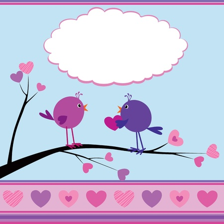 Cute greetings card with birds for Valentine Day Vector