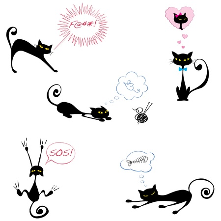 Five funny black cats with speechthought bubbles Vector