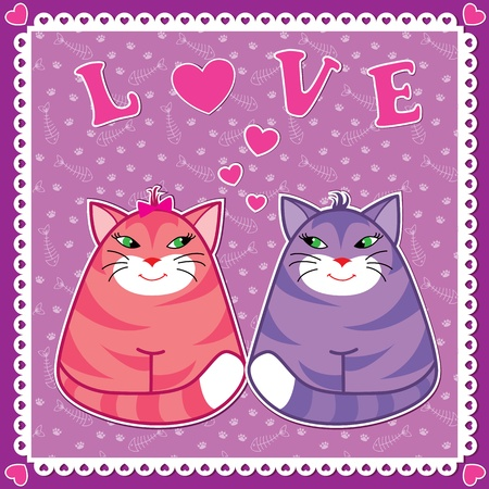 Valentine card with funny cats in love in sticker scrapbook style Vector