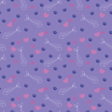 Cute seamless pattern with cat tracks, fish bones and hearts Vector