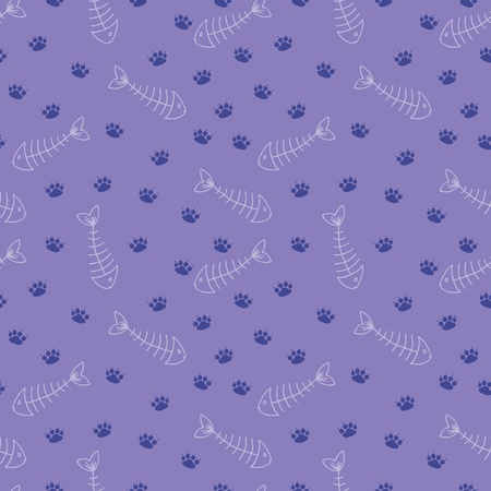 Cute seamless pattern with cat tracks and fish bones Vector