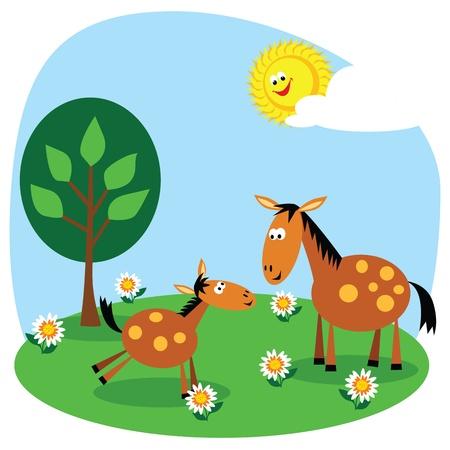 Cute cartoon horse and foal in a summer meadow