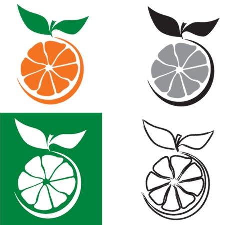 orange cut: Naranja madura corte a todo color, blanco y negro, invertido y las versiones de esquema Vectores