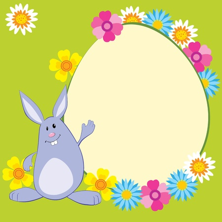 Funny bunny with flowers and egg-shaped copy space