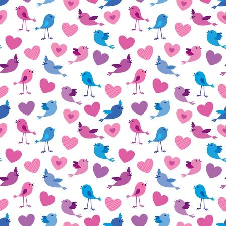 love wallpaper: Seamless patr�n de San Valent�n con los p�jaros lindos y escucha