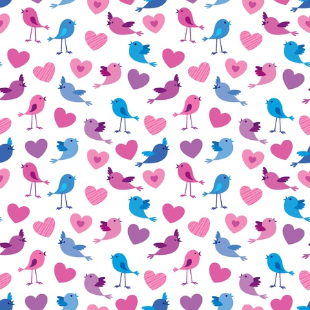 Seamless Valentine pattern with cute birds and hears