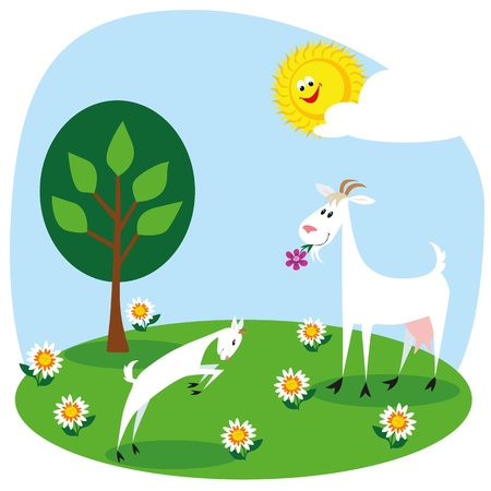 Cartoon goat and kid playing in the meadow