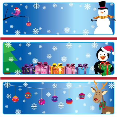 A set of cartoon Xmas banners with snowman, penguin and Rudolf Illustration