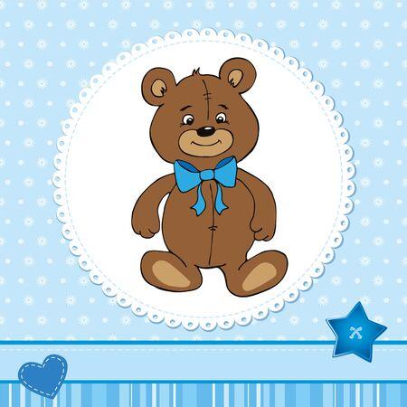 Cute baby card with a teddy bear wearing blue bow