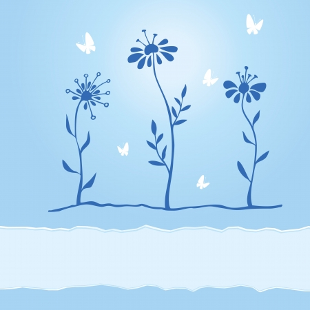 Greetings card with hand drawn flowers and butterflies Vector