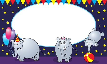 Circus elephant family card or background Illustration