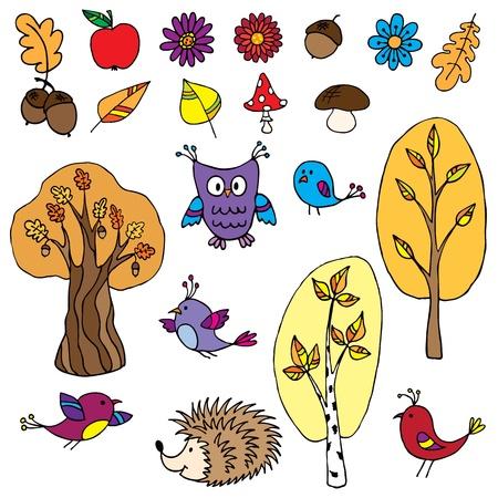 A set of hand drawn cartoon elements Illustration