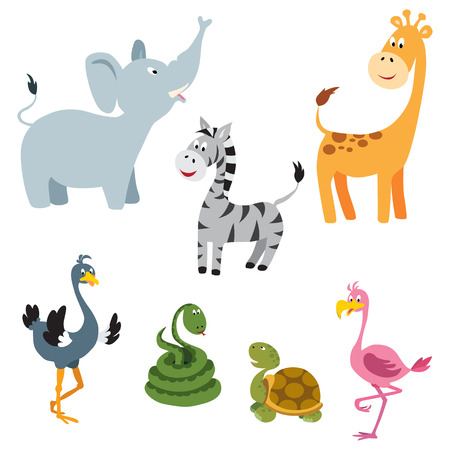 Cute cartoon animals: elephant, giraffe, ostrich, snake, turtle, zebra, flamingo