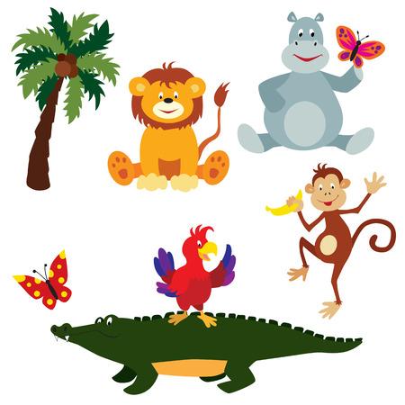 Cute cartoon animals: lion cub, hippo, crocodile, parrot, butterflies and a coconut palm