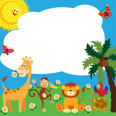 Cute greeting card for kids with African animals.