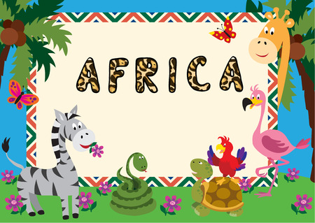 Cute cartoon animals make a colourful frame for a greeting card or invitation