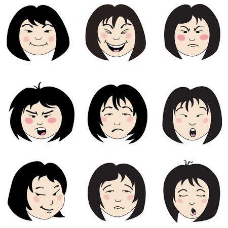 Set of 9 faces with different emotions Illustration