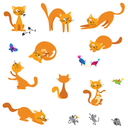 Set of 9 cartoon ginger cats with mice, birds and butterfly