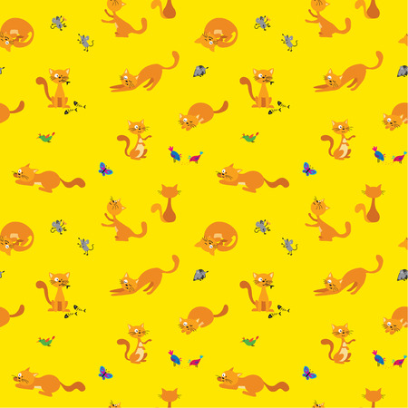 Adorable cartoon ginger cats pattern with birds, mice and butterfly, great for all baby things