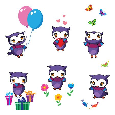 Six cute owls with decorations Illustration