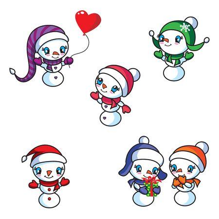 Six cute snowmen in kawaii style