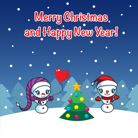 Two cute snowmen with Xmas tree greeting card