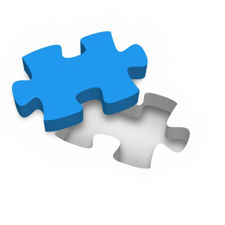 one single blue jigsaw puzzle piece on white background - business concept