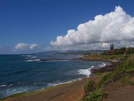 kauai: A view of the coastline of Kauai, Hawaii