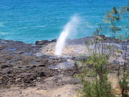 Spouting Horn in the Hawaiian Island of Kauai Stock Photo - 2433230