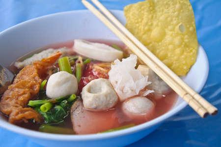 delicious Yen Ta Four noodle, Thailand photo