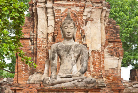 The big ancient buddha statue at Ayutthaya historical park, Thailand photo