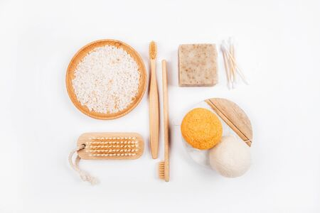 Zero waste concept inspired flatlay with soap Stock fotó