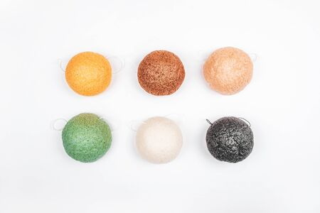 Flatlay with colorful konjac sponges isolated on white background. Zero waste concept. Stock fotó