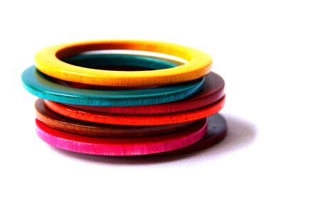 accesories: Handmade Colorful wood Bracelet in isolate.