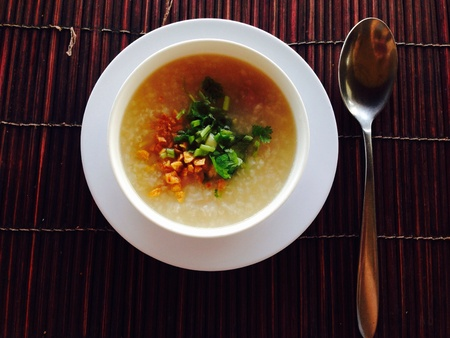 popular soup: Rice soup with pork. Thai food and popular for breakfast. Stock Photo